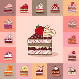 Template with different kinds of cake slices. Royalty Free Stock Photography