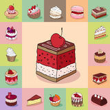 Template with different kinds of delicious desserts. Various taste. Stock Images