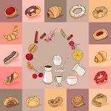 Template with different kinds of pastry. Stock Photography