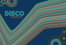 Template of disco party flyer with curved stripes and circles Stock Photography