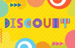 Discount card. Trendy geometric font in memphis style of 80s-90s. Background  with abstract geometric elements. Template for discount card. Trendy geometric font royalty free illustration
