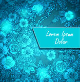 Template with doodle flowers and light in blue Royalty Free Stock Photography