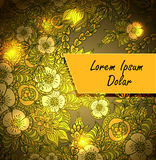 Template with doodle flowers and light in brown orang Royalty Free Stock Photos