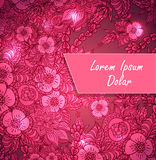 Template with doodle flowers and light in pink red Royalty Free Stock Photos