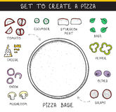 Template doodle set ingredient to build pizza. Sliced vegetables Royalty Free Stock Image