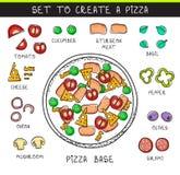 Template doodle set ingredient to build pizza. Sliced vegetables Stock Images