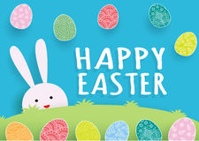 Template Easter Card with origami artwork.Cute bunny with colorful Easter eggs falling down on greenery field. Vector illustration Stock Image