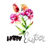Template for Easter card with Tulip and Peony flowers Stock Photos