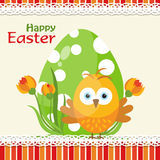 Template Easter greeting card, chick, vector Stock Photography