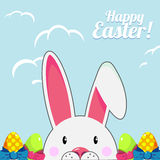 Template for Easter greeting card with cute white bunny and bright eggs over blue sky background. Vector illustration. royalty free illustration