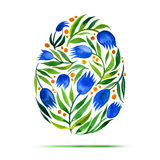 Template for Easter  greeting card or invitation. Happy Easter! Watercolor flower tulips egg Royalty Free Stock Images