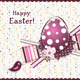Template Easter greeting card, ribbon, vector Stock Photos