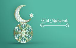 Template for Eid Mubarak with green and gold color tone. 3D Vector illustration in paper cut and craft  for islamic greeting card