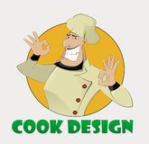 Template of the emblem with chief cook Royalty Free Stock Photos