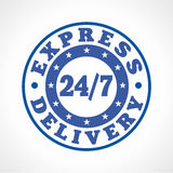 Template emblem 24/7 courier service. Express delivering around the clock logo. Round blue stamp, store, postoffice, restaurant or fastfood brand sign. 24 hours Stock Images