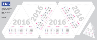 Template english calendar 2016. Pyramid shaped Stock Photo