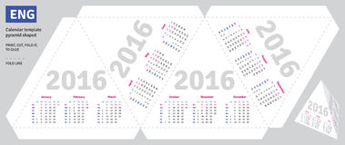 Template english calendar 2016. Pyramid shaped, vector Stock Photography