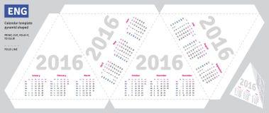 Template english calendar 2016 Stock Photography