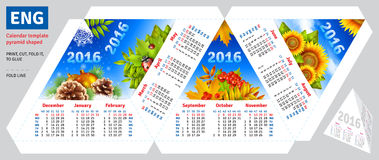 Template english calendar 2016 by seasons pyramid shaped. Vector background Royalty Free Stock Photo