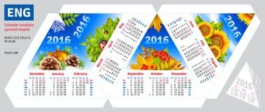 Template english calendar 2016 by seasons pyramid shaped Royalty Free Stock Photo