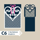 Template envelope with carved openwork heart Stock Photography