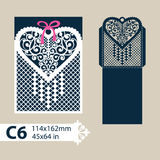 Template envelope with carved openwork heart. Layout congratulatory envelope with carved openwork pattern heart. Template for wedding greeting cards, invitations royalty free illustration