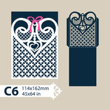 Template envelope with carved openwork heart. Layout congratulatory envelope with carved openwork pattern heart. Template for wedding greeting cards, invitations stock illustration