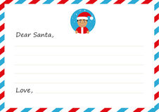Template envelope New year`s letter to cute asian Santa Claus with icon. Vector illustration. Flat design. Royalty Free Stock Image