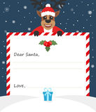 Template envelope New year`s letter to cute Santa Claus with icon.. Character assistant deer. Flat design.Vector illustration Stock Image