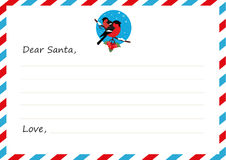 Template envelope New year`s letter to Santa Claus. Icon bullfinches. Vector illustration. Flat design. Stock Image