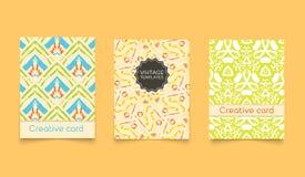 Template ethnic creative cards Stock Photos