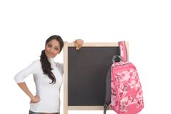 Template - ethnic Indian student by blackboard Royalty Free Stock Photography
