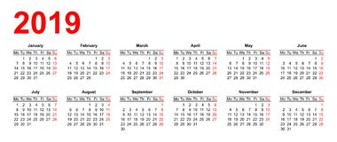 European calendar grid 2019 in vector Royalty Free Stock Photos