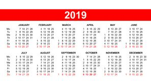 European calendar grid 2019 in vector Stock Images