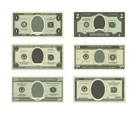 Template of fake money. Vector pictures of dollars. Cash money, finance banknote illustration Stock Photography