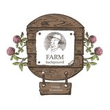Template for farm products. Portrait of a man in a hat. Vintage illustration. vector illustration