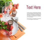 Template with festive table setting with roses Royalty Free Stock Photo