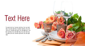 Template with festive table setting with roses Stock Images