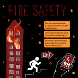 Template for fire safety instructions. A fire in a storey building. The fire on the top floors comes out of the windows. Vector illustration on a black Stock Photo