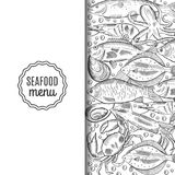 Template of the fish menu for the restaurant. Vector illustration Stock Photo