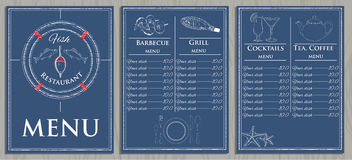Template fish menu on wood background. Vector illustration of template fish menu on wood background. Graphic design Stock Photography