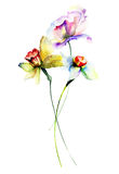 Template for floral card with flowers. Watercolour illustration Stock Images