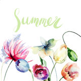 Template for floral card with title Summer Stock Images