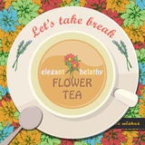 Template of flower tea Royalty Free Stock Images