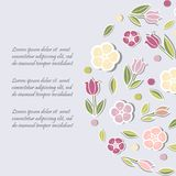 Template with flowers for party invitation, greeting card. Postcard, girl birthday, Mother`s Day, Woman`s Day, Warm Season Card, flower shop. Vector Royalty Free Stock Image