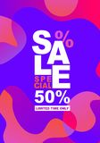 Template of fluid organic shapes, plastic lines forms with promotion text SALE SPECIAL 50 off. Liquid effect background stock illustration