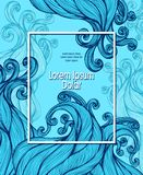 Template flyer banner with Abstract hairs waves in blue. For advertising shampoo or soap or cosmetic or hygiene products or for marine Sea Ocean or for effect stock illustration