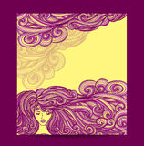 Template Flyer Beautiful Girl with long curly hair in yellow lilac Stock Image
