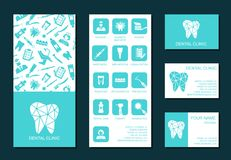 Template of flyer and business cards for dental clinic Stock Images