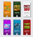 Template flyer for Christmas Party 2017. Banner design with colored polygonal numbers and letters. Vector illustration Royalty Free Stock Photo
